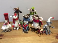 Needle Felted Christmas gathering of mice Handmade by Tess