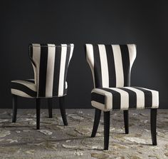 Black-and-white striped Encore wingback chair, $125, available ...