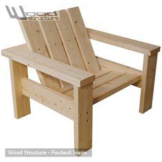 Fauteuil Sapin du nord – Design Wood Structure – Fabriqué en France par la Sarl Merlot  – Fauteuil Banc – Mobilier bois et Salon de Jardin