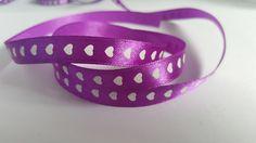 3m Ribbon - Printed Satin - Hearts - 10mm - Purple