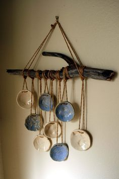 Shell and beach impressions blue and white, wall hanging - Elif Huriel - - Driftwood Windchime. Shell and beach impressions blue and white, wall hanging - Elif Huriel Driftwood Projects, Driftwood Art, Clay Projects, Clay Crafts, Ceramic Wall Art, Ceramic Pottery, Clay Wall Art, Ceramic Clay, Deco Nature