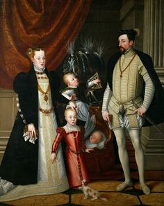 Giuseppe Arcimboldi (c.1527-1593) -- Emperor Maximilian II (1527-1576), his wife Maria of Spain, and his children Anna, Rudolf and Ernst. Kunsthistorisches Museum. Download painting.