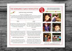 """Christmas Letter Template / Christmas Newsletter Template in PDF for Print / """"Celebrate The Year"""" / With 6 Photos / Adobe Reader Required Christmas Letter Template, Christmas Letters, Family Christmas, Xmas, Christmas Newsletter, Family Information, Crop Photo, Online Image Editor, Newsletter Templates"""