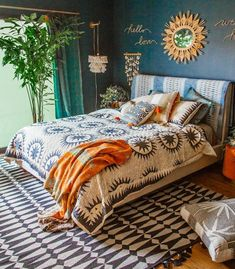 The Soleil quilt is Justina's modern spin on a traditional suzani quilt. The sun medallions are Room Ideas Bedroom, Home Decor Bedroom, Warm Bedroom, Bohemian Bedroom Decor, Bohemian Style Bedrooms, Indian Style Bedrooms, Bohemian Bedding, Bohemian Interior, Creation Deco