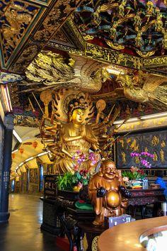 Guandu Temple in the Beitou District of Taipei, Taiwan Taipei Taiwan, Japanese Architecture, Asia Travel, Buddha, Island, Statue, Photographs, Photos, Night