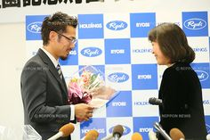 Daisuke Takahashi, <br /> OCTOBER 14, 2014 - Figure Skating : <br /> Japanese Figure Skater Daisuke Takahashi <br /> speaks to the media during a news conference <br /> announcing his retirement from competition <br /> in Okayama, Japan. <br /> (Photo by YUTAKA/AFLO SPORT)