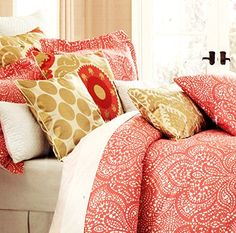 Cynthia Rowley Bedding Duvet Cover Set with Moroccan Medallion Lace Paisley design in Coral red