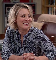Penny�s blue floral split-neck blouse on The Big Bang Theory.  Outfit Details: http://wornontv.net/52609/ #TheBigBangTheory