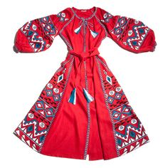 Kilim embroidered dress in red. Vyshyvanka style by MARCH11.us