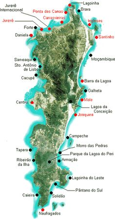 Destinations: Florianopolis. Map of beaches to go to tour in the South of Brazil. With my family, my surfboard and nothing else matters.