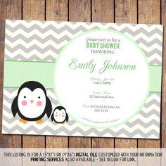 Chevron Baby Shower Invitation penguin Baby by JoyPribishDesigns, $15.00