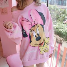 2016 mini mouse Long Sleeve Pullover Mickey O-neck Character Brand Printed Pink Tee Kawaii Style hoodies sweatshirt for women Pink Beige, Hoodie Sweatshirts, Frauen Sweatshirts, Minnie Mouse Sweatshirt, Strapless Shirt, Lany, Long Hoodie, Ideias Fashion, Sweaters For Women