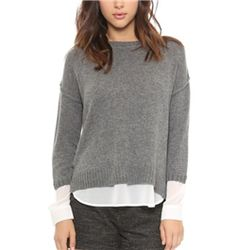 Brochu Walker - Looker Crew Neck Sweater: The layering of a woven shirt under a sweater is the perfect interpretation of the layering trend. Their version is not only in the softest wool and cashmere, but the shirttail and cuffs are done in an absolutely lovely white chiffon that is so perfect for work.
