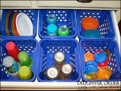 Organizing the sippy cups, plates and bowls drawer.  This is a great idea, and it would be easy to have the kiddos help put their dishes away.  I'm doing this!!