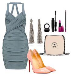 """Gray dress"" by natalia-souza-ramos on Polyvore featuring Christian Louboutin, Chanel, Oscar de la Renta and MAC Cosmetics"