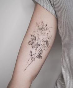 My tattoo • delicate rose tattoo fine lines rose and petal detail tattoo floral tattoo