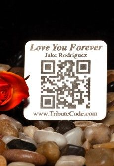 Tribute Code Plaque- Square. Place at resting site or memorial of loved one. Scan QR Code and be directed to the online memorial page for your departed loved ones that include photos, videos, music, bio and much more.  www.tributecode.com