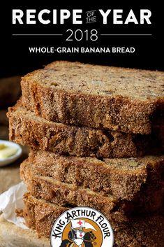 Banana Bread Whole-Grain Banana Bread. Try adding 8 oz. of cream cheese to recipe. Whole Wheat Banana Bread, Flours Banana Bread, Banana Flour, Crumpets, Povitica Recipe, Cracker, Banana Bread Recipes, King Arthur Banana Bread Recipe, Flour Recipes