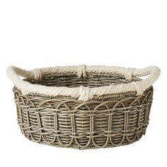 Juliska Waveney Wicker Medium Basket, Gray | Bloomingdale's: