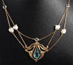 Art Nouveau Aquamarine & Mississippi River Pearl Festoon