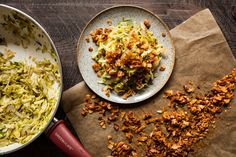 Brussels Sprout Hash with Coconut Bacon - http://ecoweare.mywikaniko.com/2016/11/brussels-sprout-hash-with-coconut-bacon/
