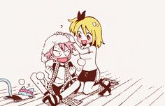 Is Lucy trying to wash Natsu's hair?? Whatever, I think this looks adorable X3