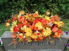 Headstone Memorial Tombstone Cemetery Silk Flower Saddle Colors of Autumn