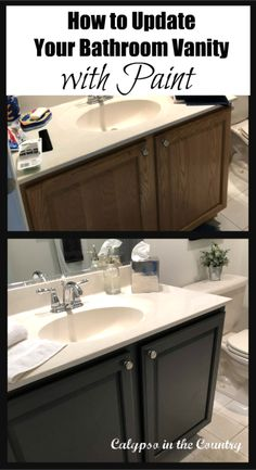 Before and After - Painted Bathroom Cabinet. Tips to update a bathroom vanity w. - Before and After – Painted Bathroom Cabinet. Tips to update a bathroom vanity with paint. Painting Bathroom Cabinets, Bathroom Cabinet Redo, Bathroom Hardware, Bathroom Vanity Makeover, Bathroom Vanities, Cabinet Makeover, Bathroom Makeovers, Painted Vanity, Bathroom Interior Design