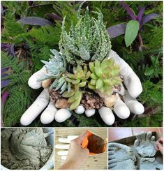 I absolutely LOVE this DIY garden project ! These DIY hand cupped stone garden planters are super easy to make and give any garden a uniqueness.
