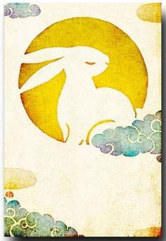 Bunny in the clouds- alter it to chinese style bat in the clouds?