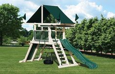 The fort on this Mountain Climber playset includes a 25 square foot deck, an excellent place to spy through the telescope or to hunker down for a backyard adventure. A rock wall climber, cargo net, ten foot wave slide, trapeze, three-rope tire swing, and belt swing round out this playground. Choose a color combination to see this playset in different color combinations. Install - $99.00 *installed locally (within 30 miles)