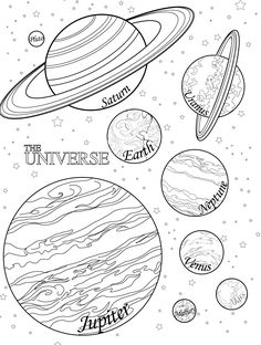 Solar System, Sun, Moon & Stars Color or Paint Pages