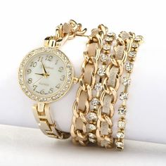 Gold Leather Wrap Watch