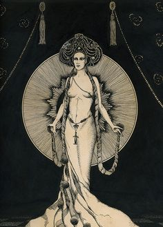 Art Deco showgirl illustration (detail) by Cardwell Higgins, 1927. Pen and ink