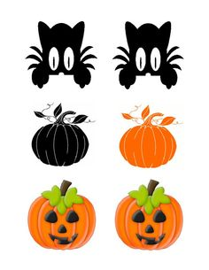 Instant Download Blk Cat Halloween Pumpkins by SAVVYCOUNTRYDESIGNS