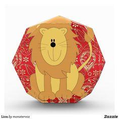 Lion Acrylic Award #Lion #Cat #Feline #Animal #Cartoon #Art #Children #Acrylic #Award