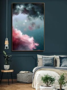 Grote roze abstracte print roze blauw giclee print grote
