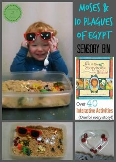 and the Plagues of Egypt Sensory Bin - Moses & 10 plagues of Egypt Sensory Bin - Jesus Storybook Bible Activity SeriesMoses & 10 plagues of Egypt Sensory Bin - Jesus Storybook Bible Activity Series Moses Plagues, Plagues Of Egypt, 10 Plagues, Sunday School Activities, Sunday School Lessons, Sunday School Crafts, Tot School, Preschool Bible, Bible Activities