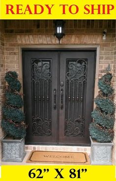WROUGHT IRON FRONT ENTRY DOORS WITH TEMPERED GLASS 62''X81'' DGD1026  | eBay