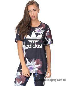Adidas Originals - Lotus Print Logo Tee - Black & Multicolour ...