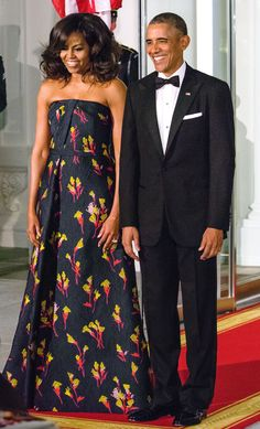 To host Canada's Prime Minister Justin Trudeau and his wife Sophie Grégoire Trudeau, Mrs. Obama turned to one of her most trusted designers, Jason Wu. She stunned in a custom midnight blue floral jacquard gown, her third major Jason Wu design for a state event