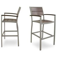 Surf City Textured Silver 2-piece Patio Bar Chair Set With Vintage Lantern Slats