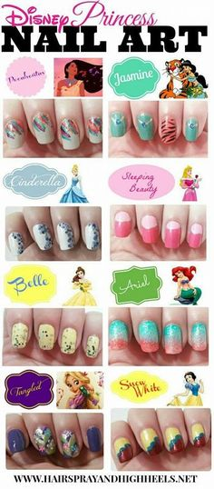 Disney Princess Nails . @Bethany Shoda Shoda Shoda Shoda Mota I saw these and thought of you ---These are sooo cool! @Gabby Meriles Meriles Meriles Ginsburg