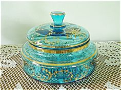 VINTAGE VANITY GLASS POWDER JAR