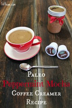 Paleo Peppermint Mocha Coffee Creamer Recipe is part of Dairy Free Peppermint Mocha Coffee Creamer - Paleo Peppermint Mocha A clean peppermint mocha recipe that is low carb, keto, and 21 Day Sugar Detox friendly Peppermint Coffee Recipe, Mocha Coffee Creamer Recipe, Homemade Coffee Creamer, Mocha Recipe, Peppermint Mocha, Paleo Creamer, Coconut Milk Creamer Recipe, Latte, Paleo Treats