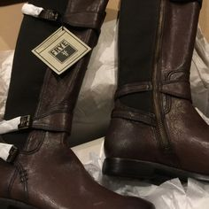 Frye Riding Boots Gorgeous boots! Worn once so they do have some wear on the soles. Will be shipped in original box with packaging. Frye Shoes Winter & Rain Boots