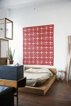 The apartment & studio of Huy Bui in Brooklyn, New York City Mid Century Decor, Mid Century Design, Dream Bedroom, Bedroom Wall, Loft, Interior Decorating, Interior Design, Textiles, Decoration