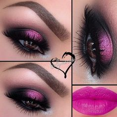 Pink Glitter Eyes and Pink Lips by @elymarina using Motives Paint Pot Mineral Eye Shadow(If You Dare) and Moisture Rich Lipstick(Pink Attack)! Click to Order! #Pink #Glitter #EyeShadow