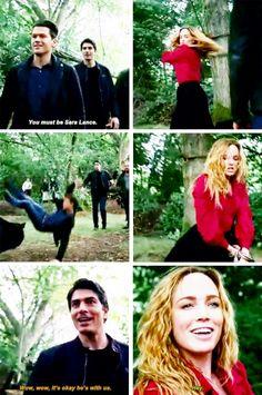 """You must be Sara Lance"" - Nate, Ray and Sara #LegendsOfTomorrow"
