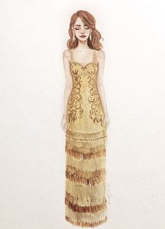 Drawing of Emma Stone in her dress for the Oscars